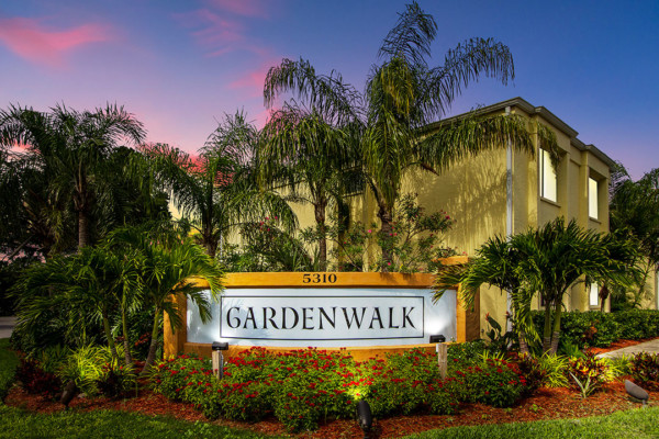 Gardenwalk entrance sign at dusk